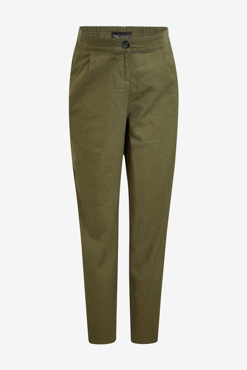 Next Maternity Linen Blend Taper Trousers