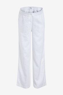 Next Maternity Linen Blend Wide Leg Trousers - 254323