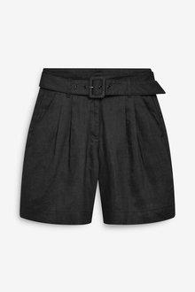 Next Linen Belted Shorts - 254349