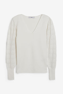 Next V-Neck Jumper With Pointelle Sleeve