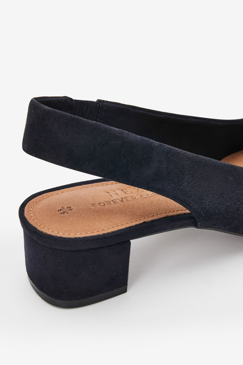 Next Leather Square Toe Slingbacks-Wide Fit