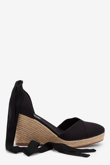 Next Ankle Tie Espadrille Wedges-Wide Fit - 254531