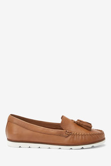 Next Leather Moccasins-Wide Fit - 254557