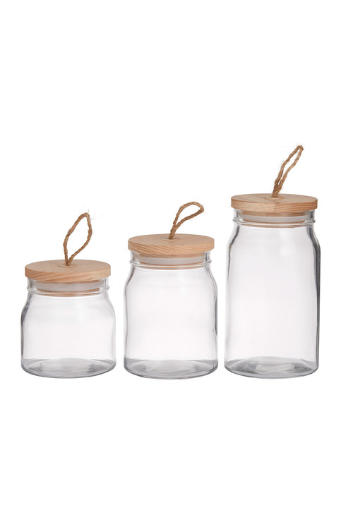 Davis & Waddell Glass Storage Canisters Set of Three