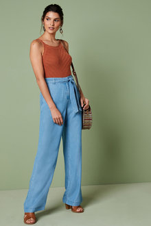 Next Wide Leg Tencel Trousers - 254645