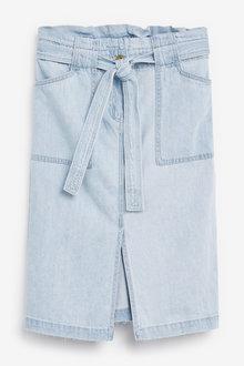Next Belted Denim Midi Skirt-Tall - 254725