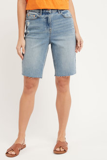 Next Distressed Denim Knee Shorts - 254729