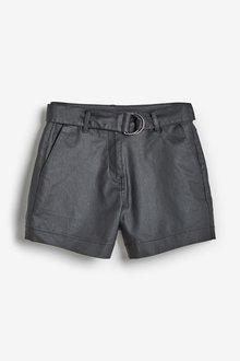 Next Belted Coated Denim Shorts-Tall - 254741