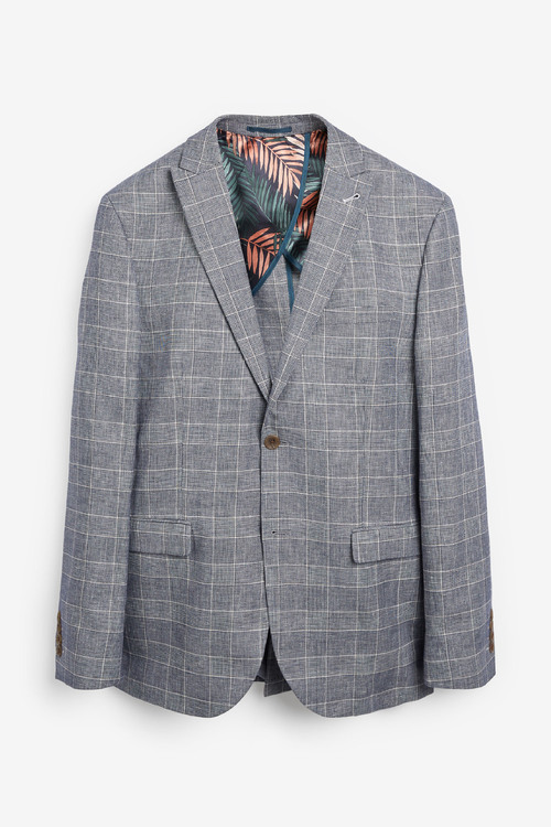 Next Linen Blend Check Suit: Jacket-Tailored Fit