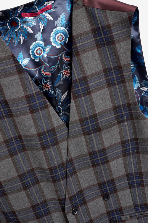 Next Super Skinny Fit Tartan Check Suit: Waistcoat