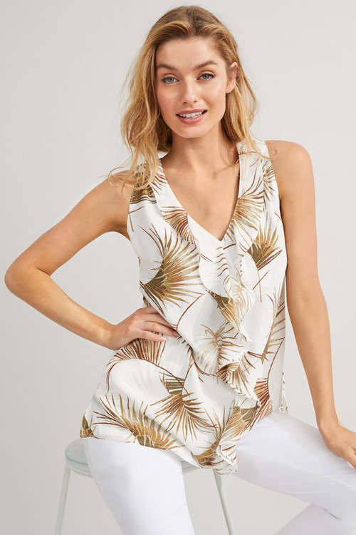 Capture Ruffle Front Sleeveless Top