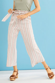 Capture Linen Blend Stripe Crop Pant - 254830