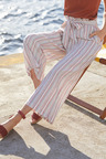 Capture Linen Blend Stripe Crop Pant