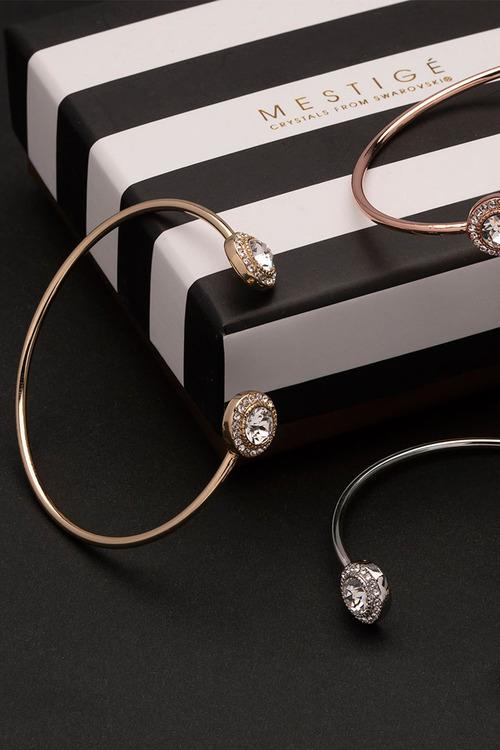 Mestige Gold Golden Ayla Bangle with Swarovski® Crystals