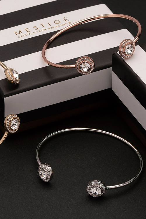 Mestige Rose Rose Gold Ayla Bangle with Swarovski® Crystals
