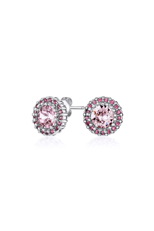 Mestige Silver Rose Mallory Earrings with Swarovski® Crystals
