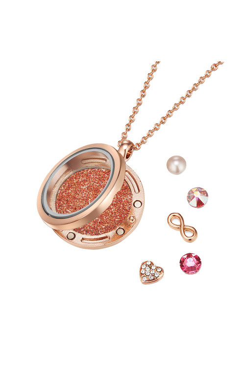 Mestige Rose Rose Gold Infinity Floating Charm Necklace with Swarovski®