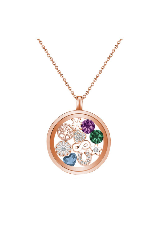 Mestige Rose Rose Gold Water Lily Floating Charm Necklace with