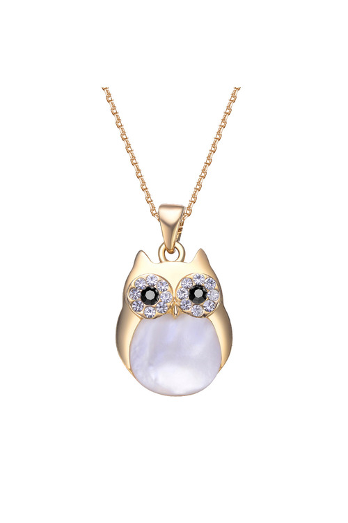 Mestige Gold Professor Owl Charm Necklace with Swarovski® Crystals