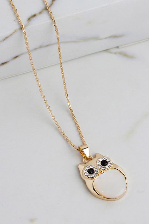 Mestige Gold Professor Owl Charm Necklace with Swarovski® Crystals