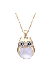 Mestige Gold Professor Owl Charm Necklace with Swarovski® Crystals - 255029