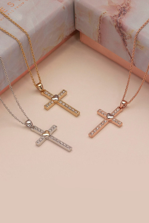 Mestige Rose Rose Gold Holy Love Necklace with Swarovski® Crystals