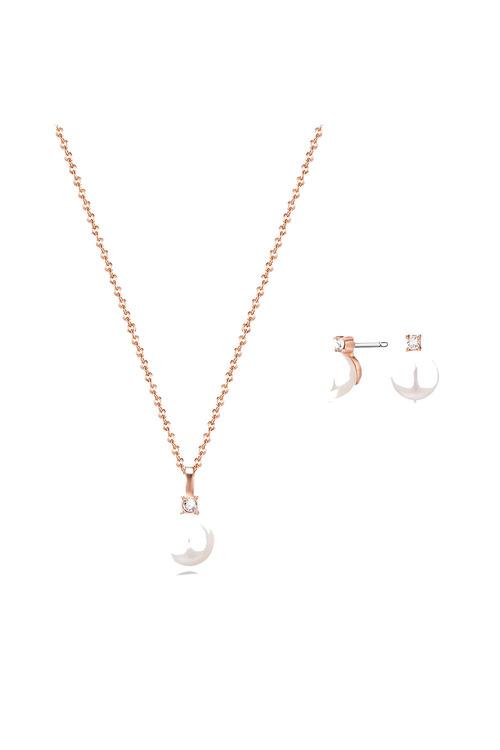Mestige Rose Rose Gold Katalina Freshwater Pearl Set with Swarovski®