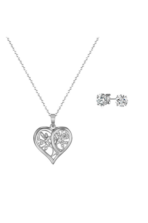 Mestige Silver Tender Tree of Life Set with Swarovski® Crystals
