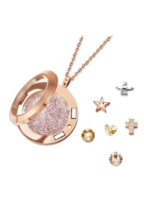 Mestige Dual Holy Saint Dual Floating Charm Necklace with Swarovski®