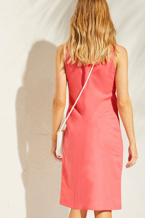 Capture Linen Blend Panelled Dress