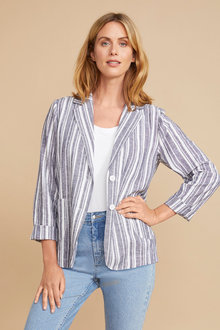 Capture Linen Blend Stripe Blazer - 255114