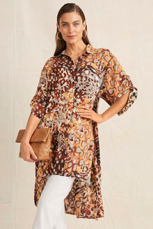 Grace Hill Longline Tab Sleeve Shirt - 255128