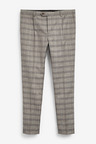 Next Linen Blend Check Suit: Trousers-Skinny Fit