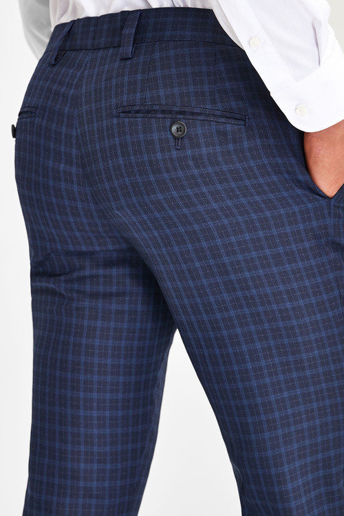 Next Wool Blend Check Suit: Trousers-Skinny Fit