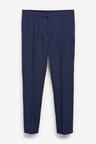 Next Linen Blend Check Suit: Trousers-Slim Fit