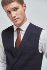 Next Wool Blend Check Suit: Double Breasted Waistcoat