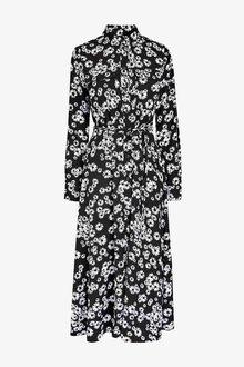 Next Black Floral Print Maxi Utility Long Sleeve Shirt Dress - 255266