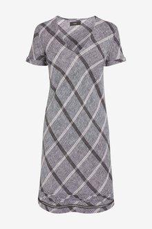 Next Grey Check Linen Blend T-Shirt Dress - 255269