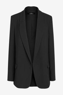 Next Black Relaxed Soft Crepe Blazer - 255284