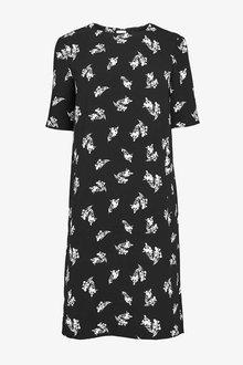 Next Black/Cream Print Short Sleeve Crepe Shift Dress - 255287