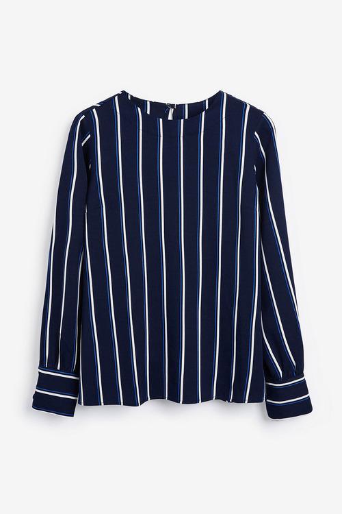 Next Blue Stripe Deep Cuff Long Sleeve Top