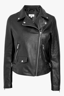 Next Black Faux Leather Biker Jacket - 255323