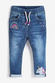 Next Blue Unicorn Pull-On Jeans - 255330