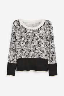Next Black/White Floral Crew Neck Jumper - 255355
