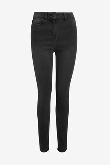 Next Washed Black High Rise Skinny Jeans - 255434