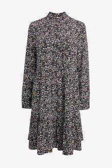 Next Black Floral Print Tiered Dress - 255481