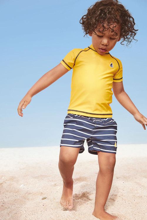 Next Yellow Rash Vest And Swim Shorts Set (3mth-7yrs)
