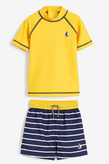 Next Yellow Rash Vest And Swim Shorts Set - 255490