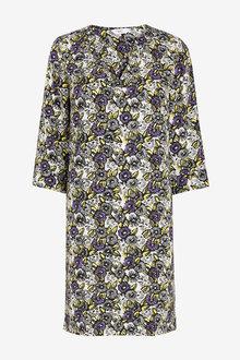 Next Purple Floral V-Neck Dress - 255507