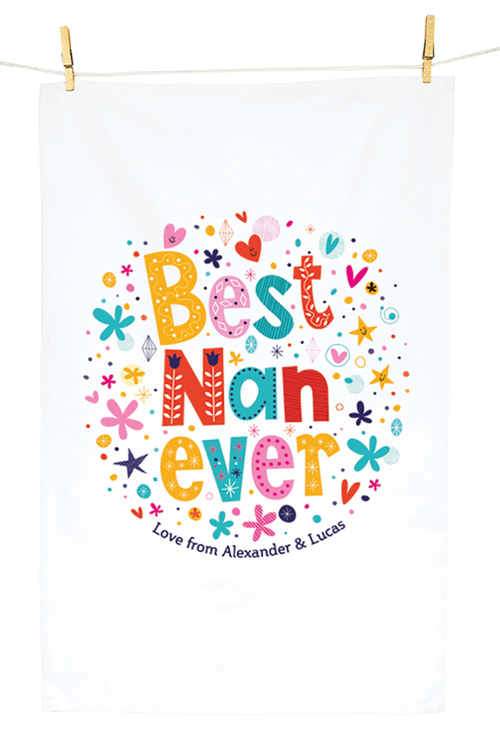 Personalised Best Nan Ever Tea Towel